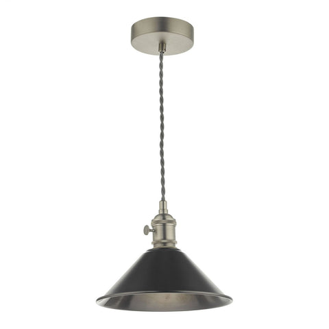 Dar Lighting HAD0161-02 Hadano 1 Light Pendant Antique Chrome With Antique Pewter Shade