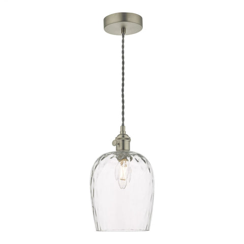 Dar Lighting HAD0161-03 Hadano 1 Light Pendant Antique Chrome With Dimpled Glass Shade