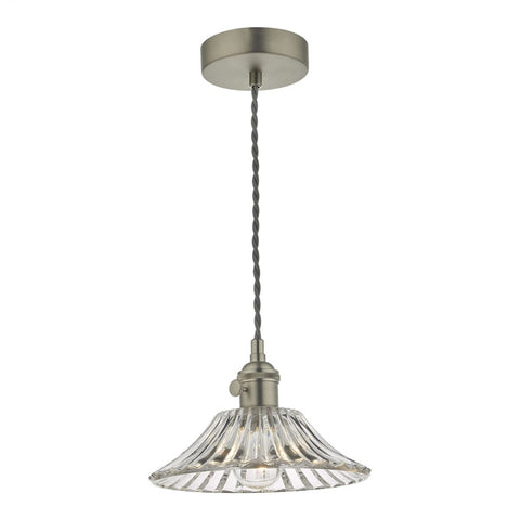 Dar Lighting HAD0161-04 Hadano 1 Light Pendant Antique Chrome With Flared Glass Shade
