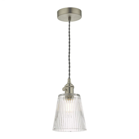 Dar Lighting HAD0161-05 Hadano 1 Light Pendant Antique Chrome With Ribbed Glass Shade