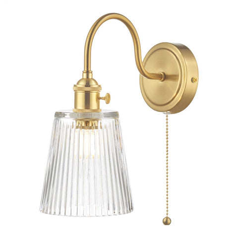 Dar Lighting HAD0740-05 Hadano 1 Light Wall Light Brass With Ribbed Glass Shade