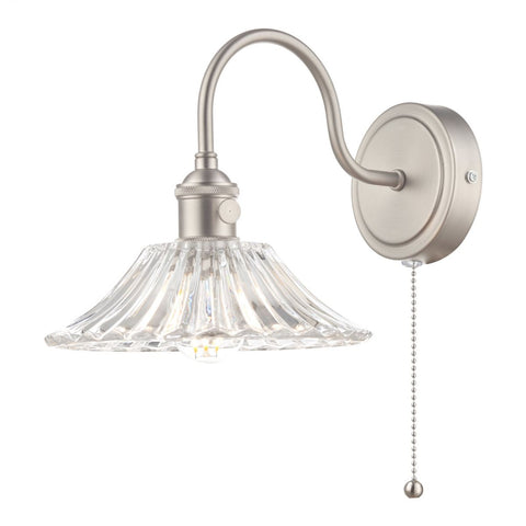 Dar Lighting HAD0761-04 Hadano 1 Light Wall Light Antique Chrome With Flared Glass shade