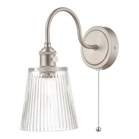 Dar Lighting HAD0761-05 Hadano 1 Light Wall Light Antique Chrome With Ribbed Glass Shades