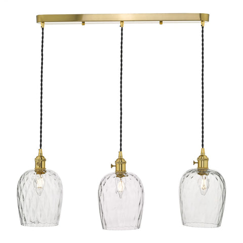 Dar Lighting HAD3640-03 Hadano 3 Light Suspension Natural Brass With Dimpled Glass Shades