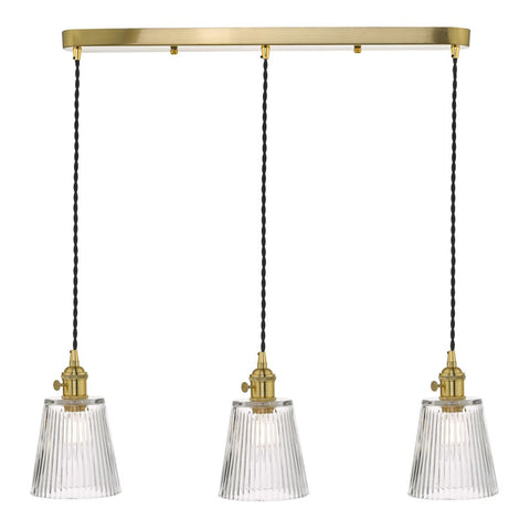Dar Lighting HAD3640-05 Hadano 3 Light Suspension Natural Brass With Ribbed Glass Shades