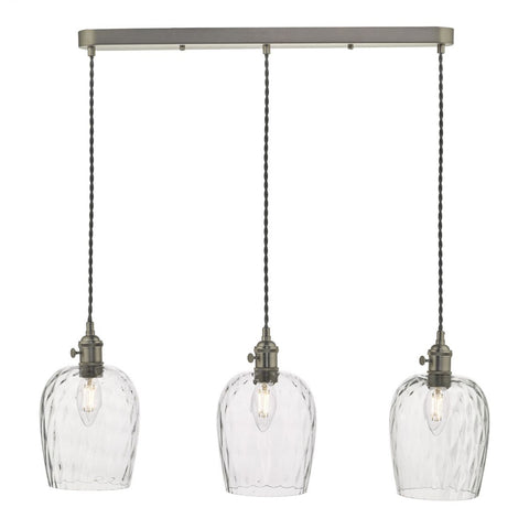 Dar Lighting HAD3661-03 Hadano 3 Light Suspension Antique Brass With Dimpled Glass Shades
