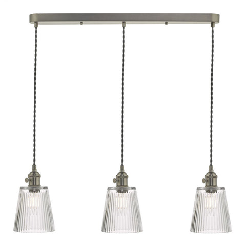 Dar Lighting HAD3661-05 Hadano 3 Light Suspension Antique Brass With Ribbed Glass Shades