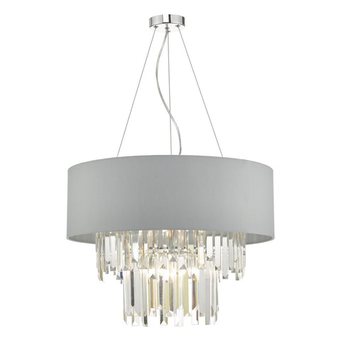 Dar Lighting HAL0639 Halle 6lt Pendant Grey & Crystal Cw Shade