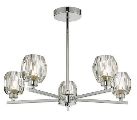 Dar Lighting IDI5450 Idina 5 Light Semi Flush Polished Chrome