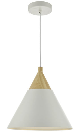 Dar Lighting ILO012 Ilory 1 Light Pendant Ivory And Natural Wood