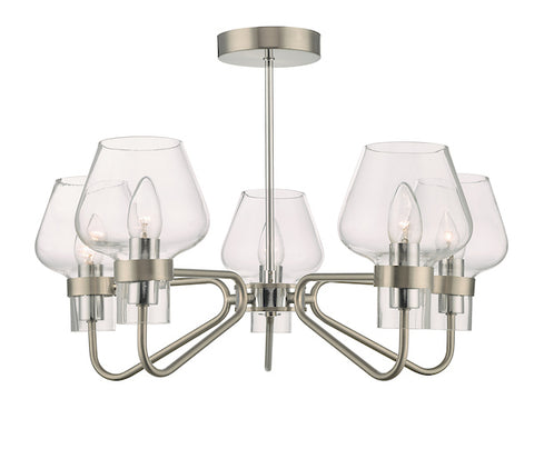 Dar Lighting KET5446 Keta 5 Light Semi Flush Satin Chrome & Polished Chrome