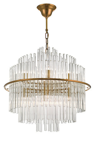 Dar Lighting LUK1735 Lukas 13 Light Pendant Brushed Antique Gold And Glear Glass