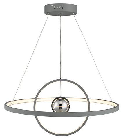 Dar Lighting MER8839 Mercury 1lt Pendant Horizontal 2 Sphere Grey LED