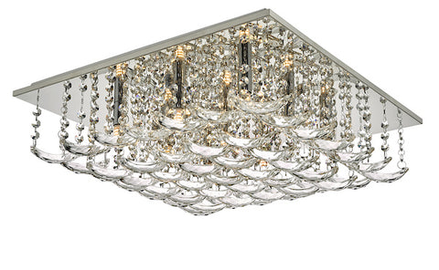 Dar Lighting ORE1350 Orella 9 Light Flush Polished Chrome & Crystal