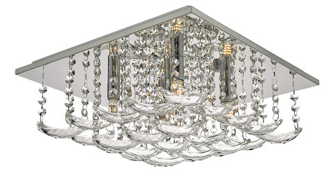Dar Lighting ORE5450 Orella 5 Light Flush Polished Chrome & Crystal