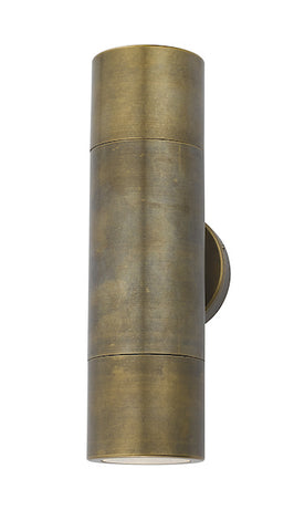 Dar Lighting ORT3275 Ortega 2 Light Wall Light Antique Brass IP65