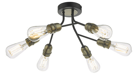 Dar Lighting REM0654 Remy 6 Light Semi Flush Black & Antique Brass