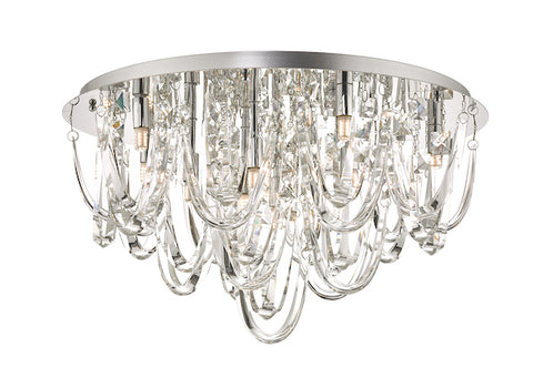 Dar Lighting ROX4850 Roxanne 11lt Flush Polished Chrome & Crystal