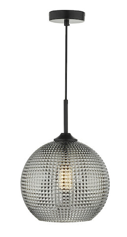 Dar Lighting SOR0110 Soren 1 Light Pendant Black And Smoked Textured Glass