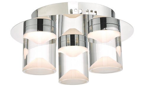 Dar Lighting SUS5350 Susa 3lt Flush Polished Chrome & Acrylic LED Bathroom IP44