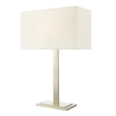 Dar Lighting TEG4246 Tegal Table Lamp Satin Nickel With Shade