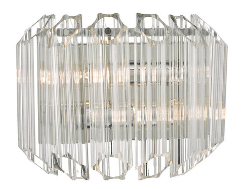 Dar Lighting TUV0908 Tuvalu 2lt Wall Light Glass & Polished Chrome