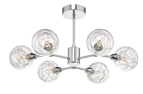 Dar Lighting TYK6450 Tyka 6lt Semi Flush Polished Chrome & Glass