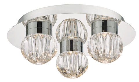 Dar Lighting ZON5350 Zondra 3lt Flush Polished Chrome & Glass LED Bathroom IP44