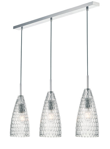 Dar Lighting ZUK0308 Zuka 3lt Bar Pendant Polished Chrome & Textured Glass