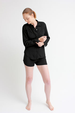 breezy set - shirt & shorts / black