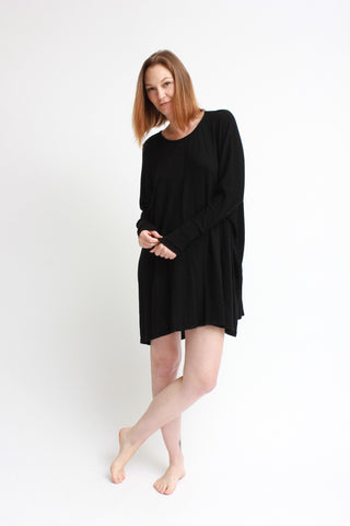 cozy oversized dolman dress / black
