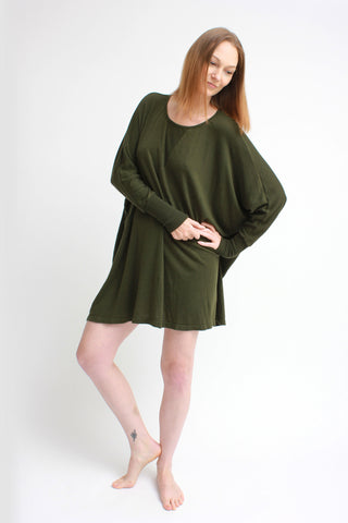 cozy oversized dolman dress / olive