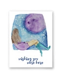 set of 4 watercolor illustration Greeting cards with envelopes