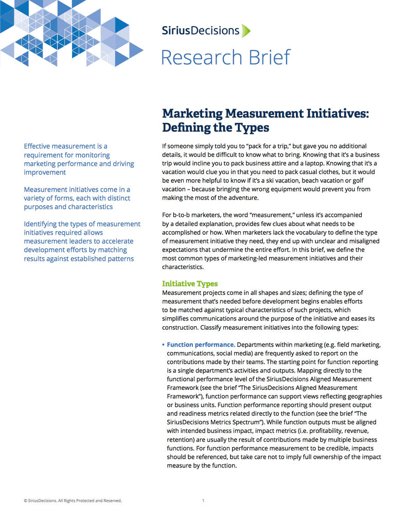 Advanced Measurement SiriusPathway™ – SiriusDecisions Learning