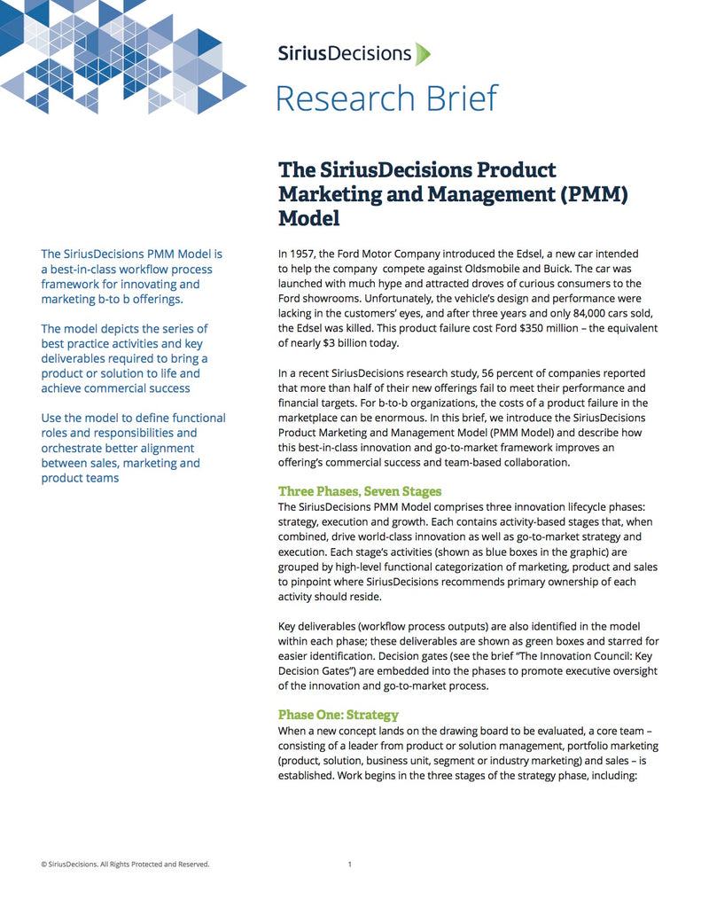 Pricing Packaging Siriuspathway Siriusdecisions Learning