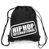 Drawstring Zipper Pocket Backpack - Black