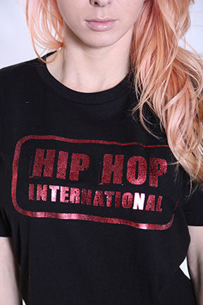 Single Stamp HHI Unisex Tshirt - Black/RedMetallic