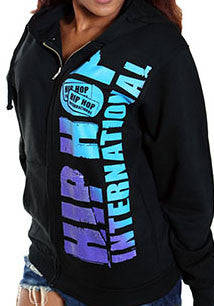 Vertical Hip Hop International Unisex Full Zip Hoody - Black/Fade