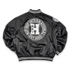 UNISEX NEW VARSITY SATIN BOMBER JACKET - BLACK/WHITE