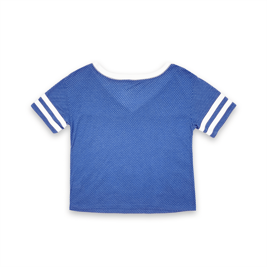 WOMENS SHORT SLEEVE CROP MESH FOOTBALL JERSEY T-SHIRT WITH CONTRAST TAPING - BLUE/WHITE