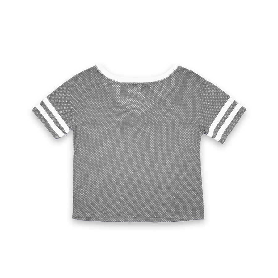 WOMENS SHORT SLEEVE CROP MESH FOOTBALL JERSEY T-SHIRT WITH CONTRAST TAPING - GRAY/WHITE