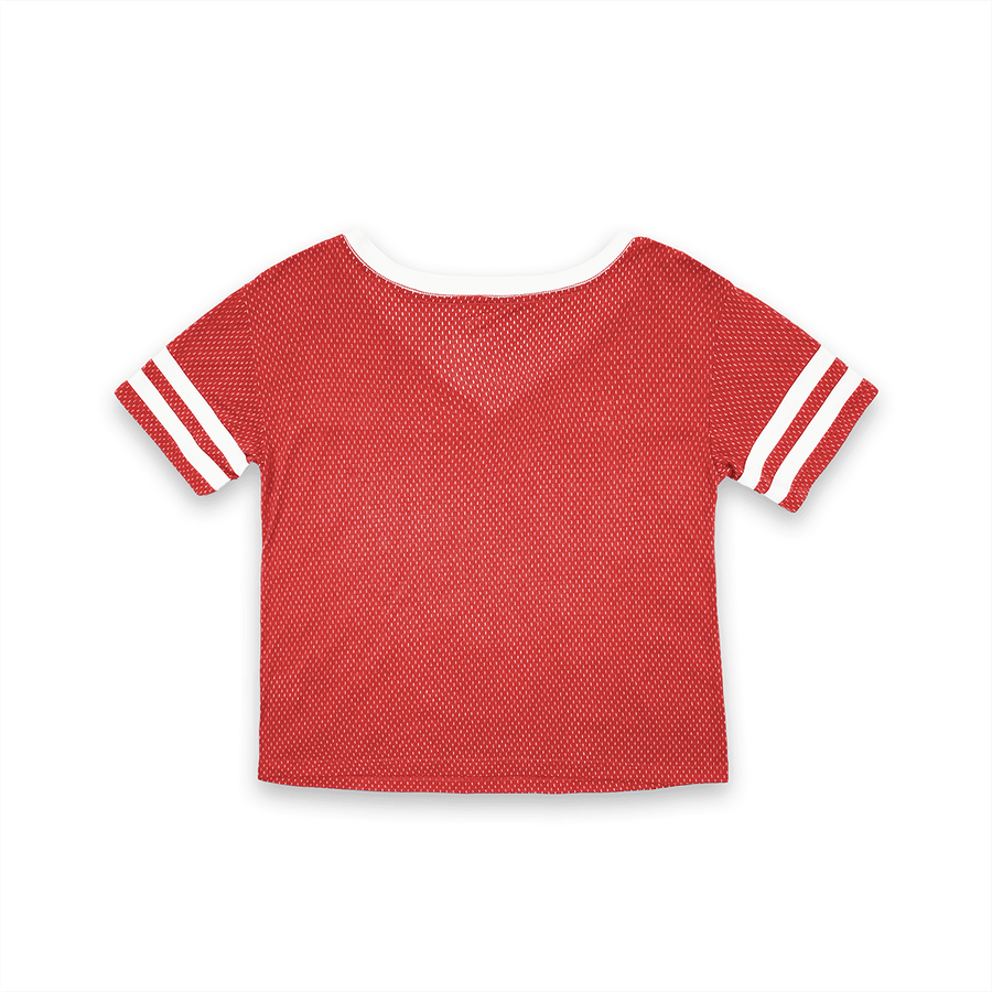 WOMENS SHORT SLEEVE CROP MESH FOOTBALL JERSEY T-SHIRT WITH CONTRAST TAPING - RED/WHITE