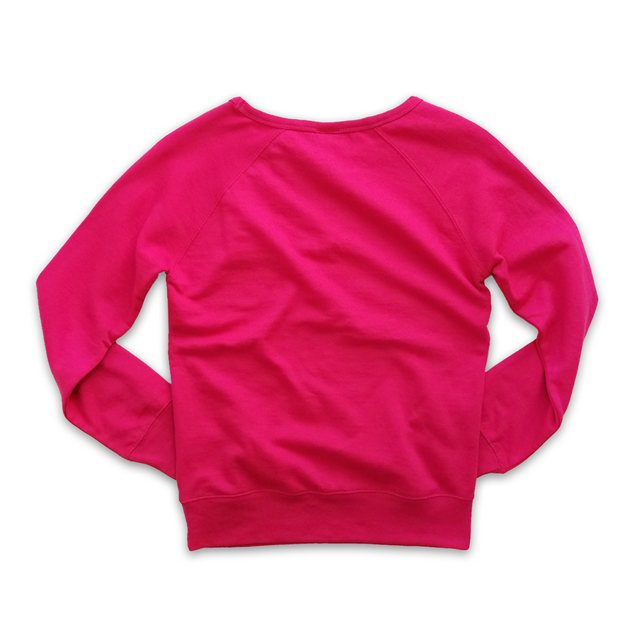 WOMENS FLEECE PULLOVER CREW - NEW VARSITY CIRCLE-PINK