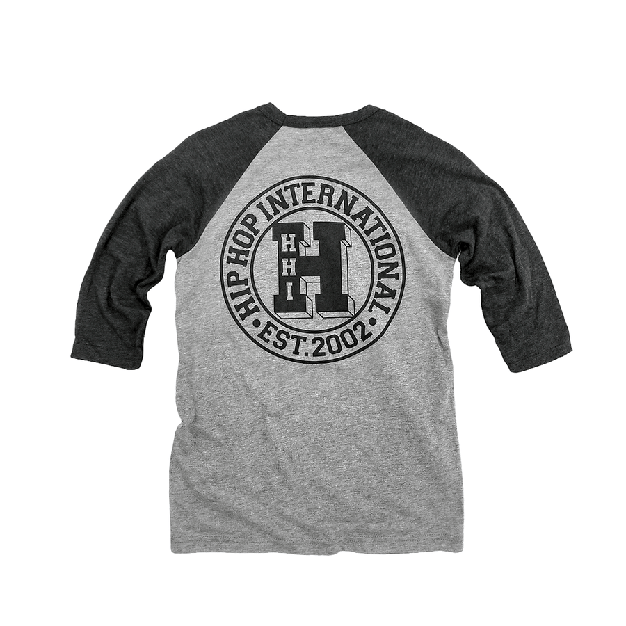 YOUTH NEW VARSITY 'H' 3/4 SLEEVE BASEBALL T-SHIRT - H.GRAY/H.BLACK