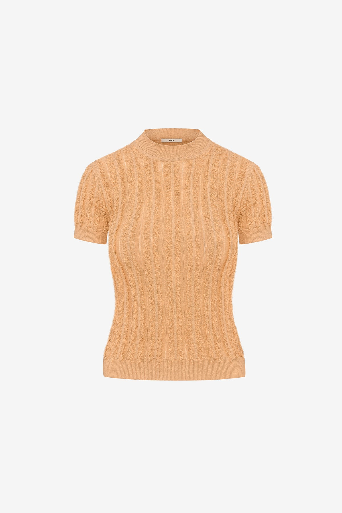 STRETCH VISCOSE FRINGE SHORT SLEEVE TOP