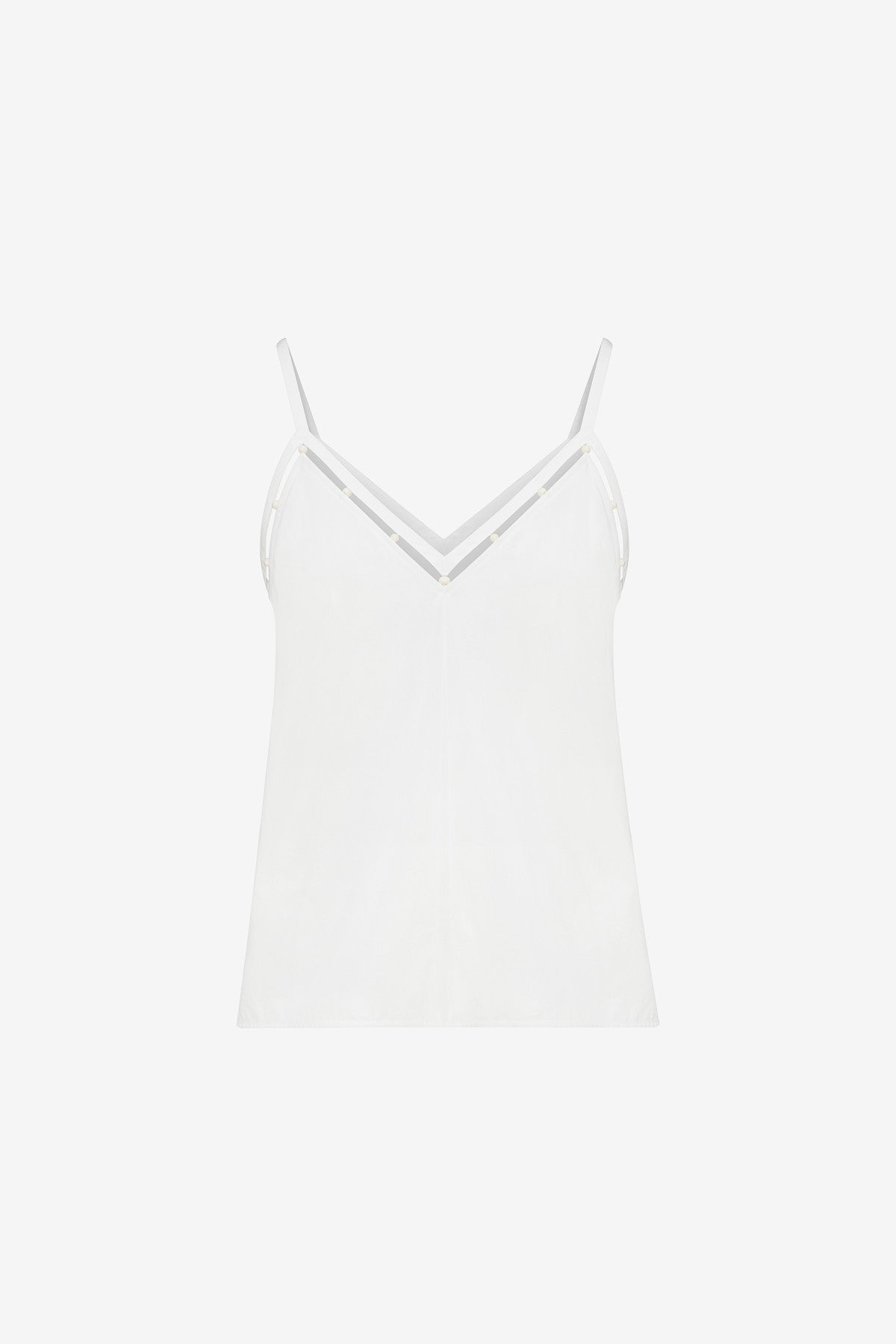 COTTON POPLIN BEADED CAMISOLE TOP