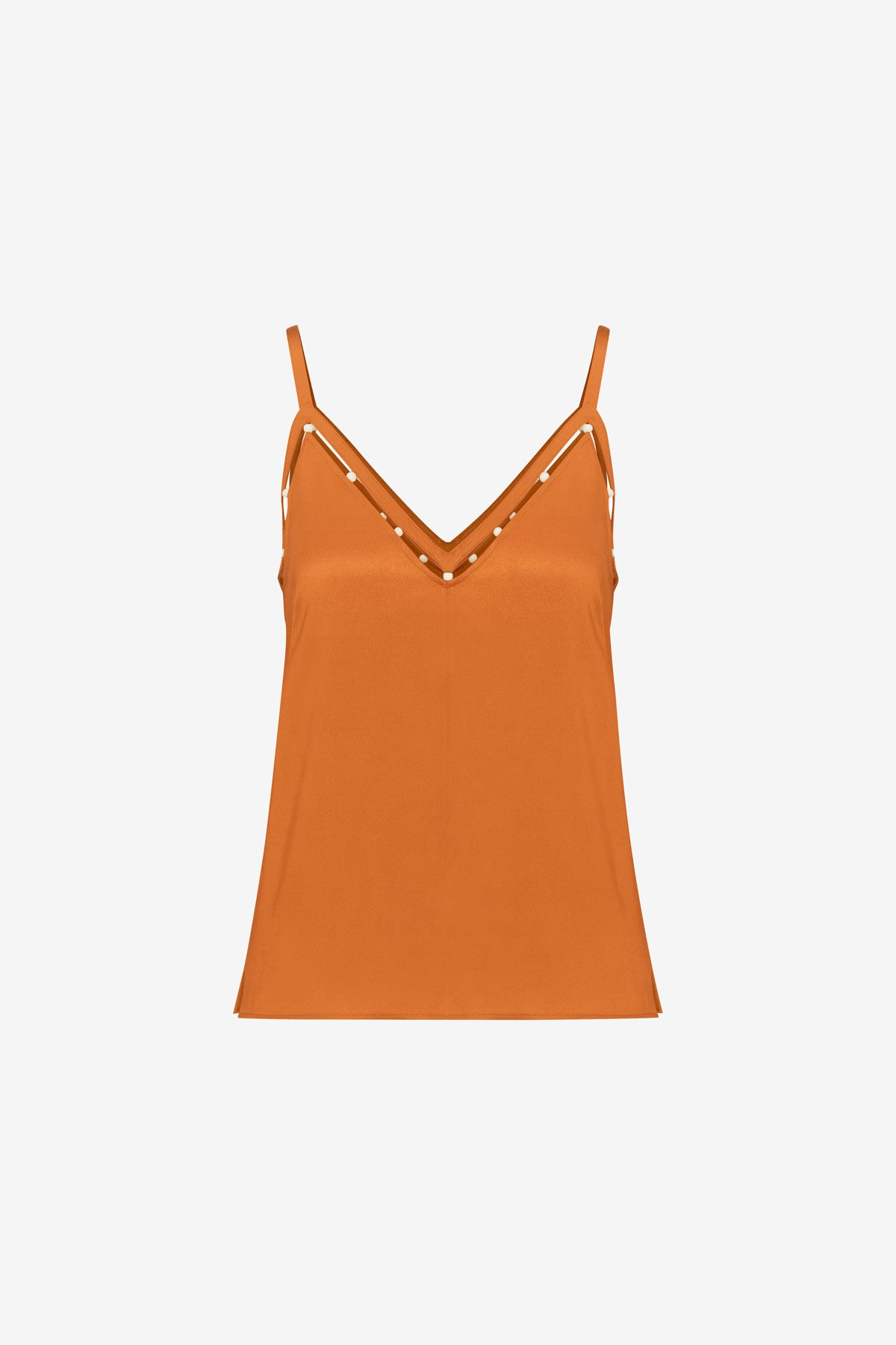 LIQUID SATIN BEADED CAMISOLE TOP