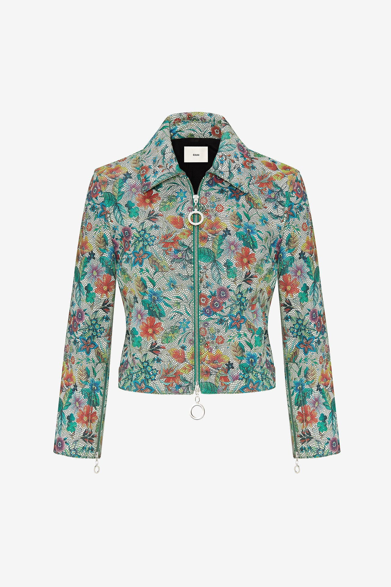 FLOWER TILE LEATHER CROPPED JACKET