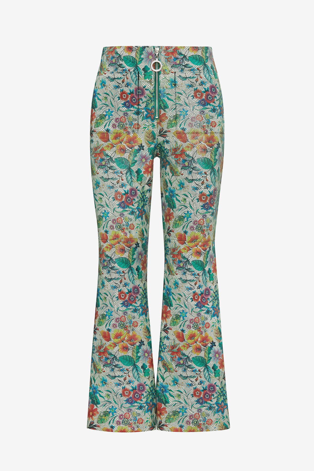 FLOWER TILE LEATHER FLARE PANTS
