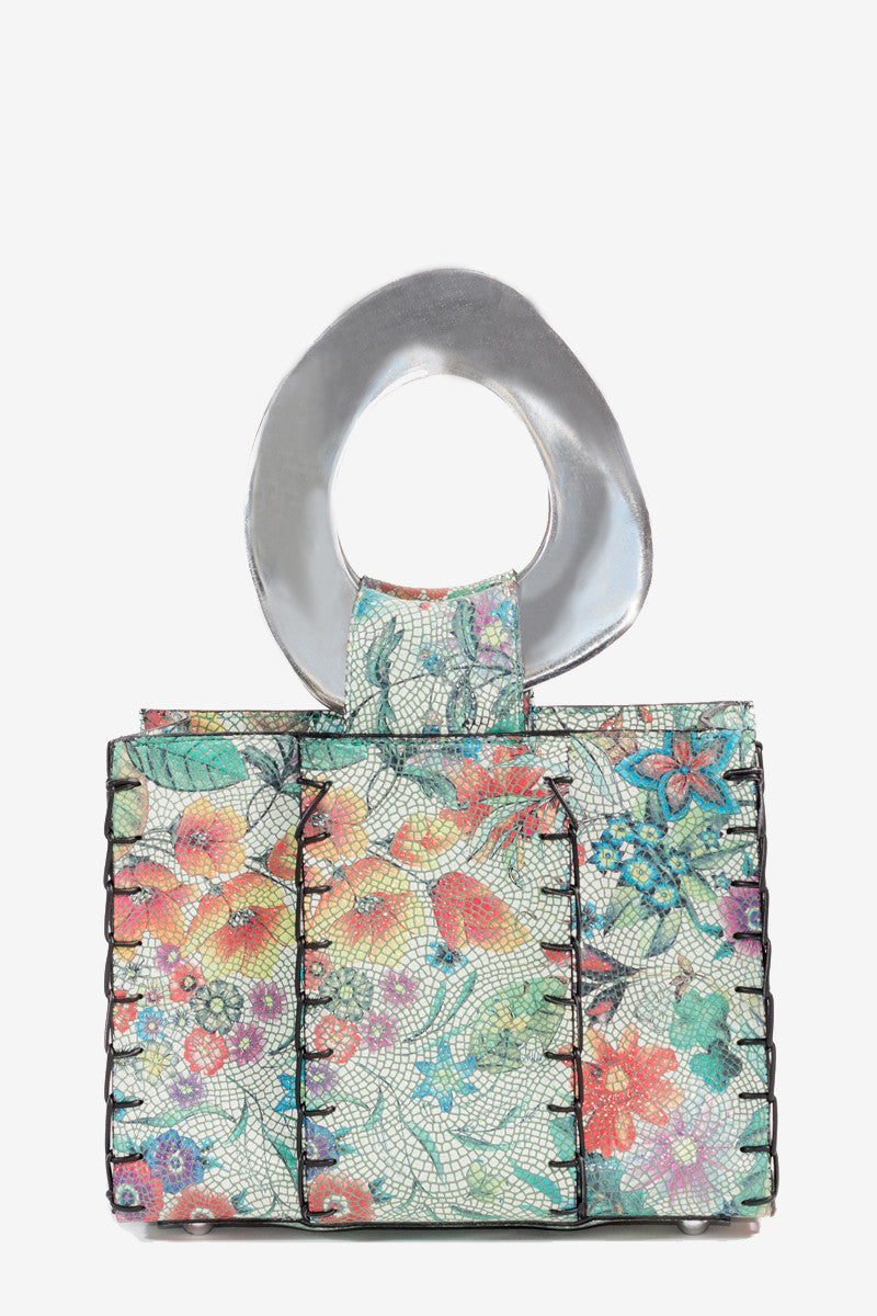 FLOWER TILE LEATHER MINI TOTE